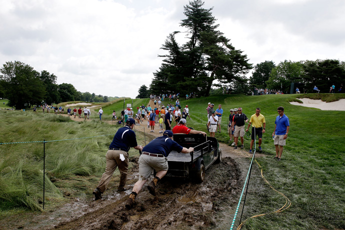 Heavy rain on Monday turned Merion into a muddy mess.