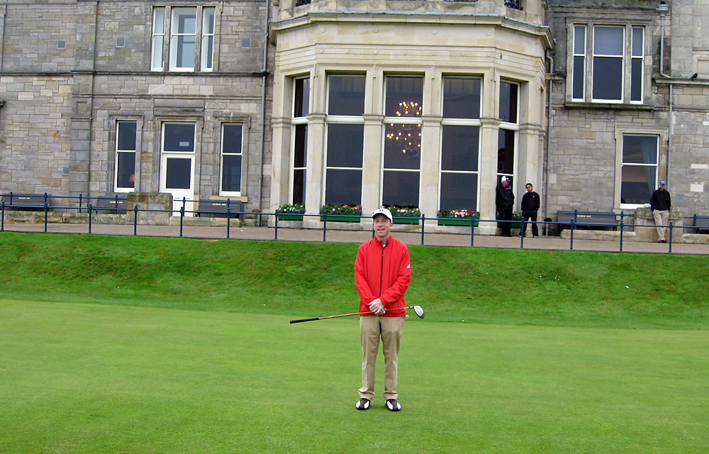 """I'm thankful for the rarely-seen leftward shank with which I started my first-ever round at the Old Course. From there, I had nowhere to go but up."" -- Charlie Hanger, Golf.com executive editor [Pictured: Hanger on the first tee at St. Andrews in July.]"