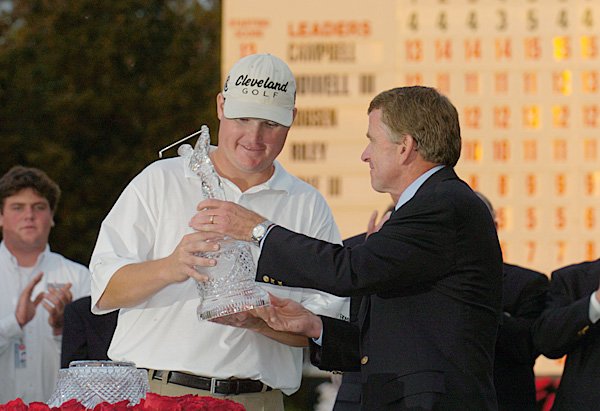 6. 2003 Champions Golf Club, Houston                           Purse: $6 mil. Winner's share: $1.08 mil.                           Winner: Chad Campbell (-16)                                                      Campbell had won 13 times on the Hooters tour, but at 29 and in his second season on the PGA Tour, he was winless. After a runner-up finish at the PGA Championship, Campbell shot a tournament-record 61 in the third round. That gave him a one-shot lead, which he increased by two with a 68 on Sunday. Campbell became the first player to make his first Tour victory the Tour Championship. The tournament was also notable for Phil Mickelson's absence. Ranked only 38th on the money list going into the event, he didn't make the 31-man field. It was the only year Mickelson finished outside the top 30 in earnings.