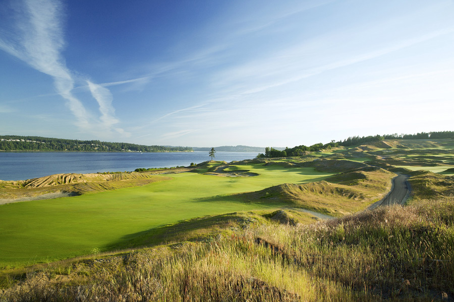 Chambers Bay -- University Place, Wash. -- chambersbaygolf.com                           In 2015, it's going to host the Open. Not the British Open. The U.S. Open. Though it's easy to see why you'd mix up the two. Credit Robert Trent Jones Jr. for creating the confusion when he reclaimed what was once a wastewater treatment plant and crafted this rough-hewn Scottish-links-like design.