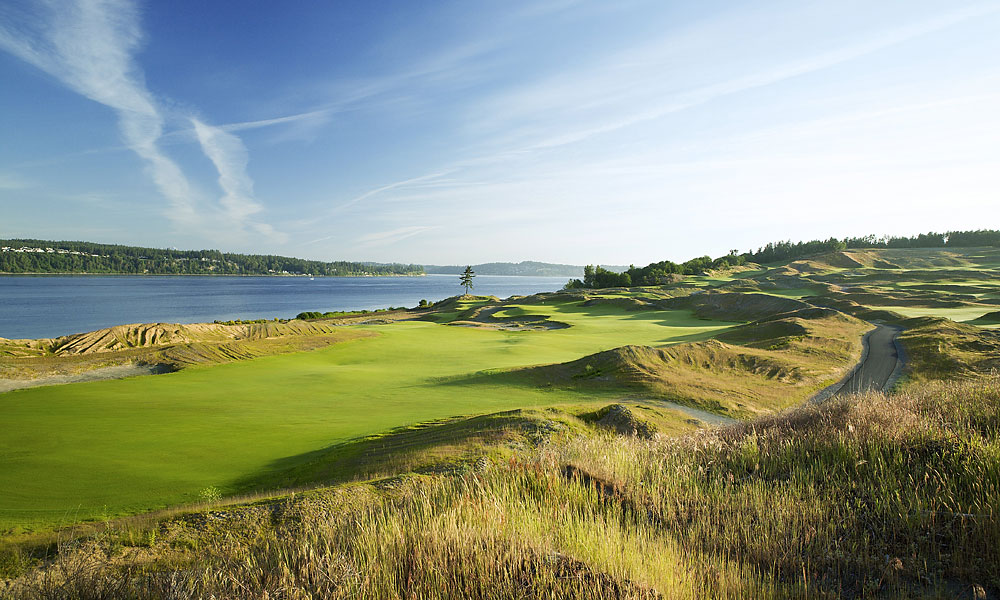 "6. Chambers Bay, University Place, WA; 253-460-4653, chambersbaygolf.com                           Giant sand dunes, rumpled fairways, coastal breezes, stunning sea views. Where are we? The surprise answer is Washington State, specifically, Chambers Bay, 45 minutes south of Seattle. Planted atop an old gravel mine, this 7,500-yard, walking-only municipal layout slotted to host the 2015 U.S. Open boasts many distinctive features. Among them are the shared fairway between 1 and 18, the par-4 5th called ""Free Fall,"" that plummets 80 feet and the par-5 18th that plays alongside 40-foot-tall concrete structures that in a former life were sorting bins for the gravel operation. Massive, tattered-edge bunkers and a closing stretch that peers over the Puget Sound make Chambers Bay a legitimate rival to its Oregon rivals."