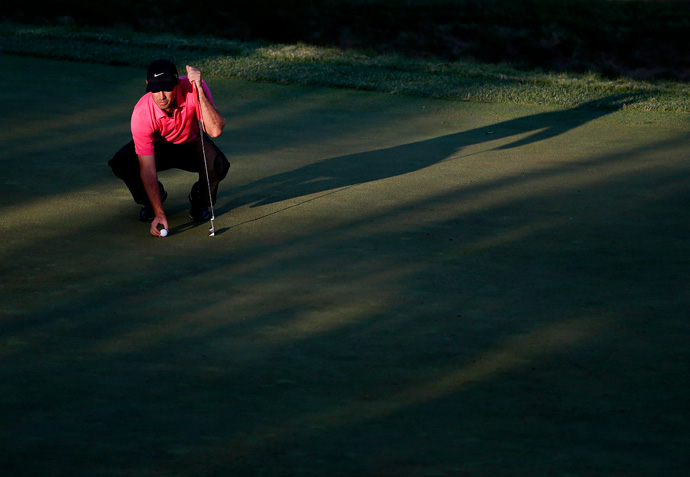 Charl Schwartzel was two over par with two holes left in his second round.