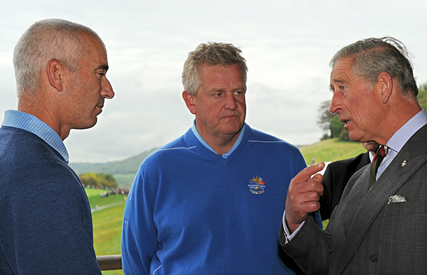 Prince Charles stopped by the Ryder Cup last year and chatted with U.S. captain Corey Pavin, left, and European captain Colin Montgomerie.