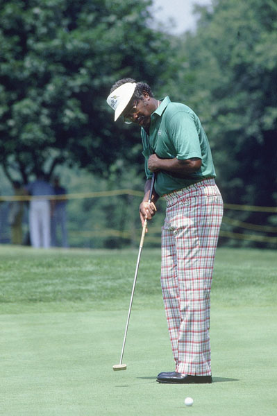 "1986: Yip-addled Charlie Owens of the Champions Tour employs a 51-inch putter that he anchors to his sternum. He dubs the putter ""Slim Jim."" He wins twice with it that year."
