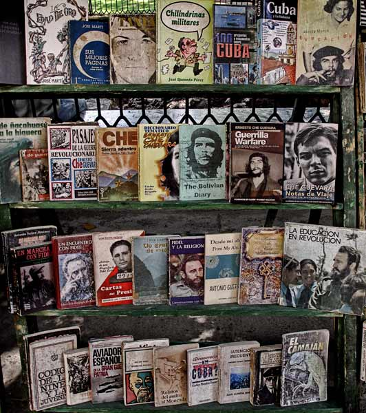 Big brother: The face of Che Guevara is omnipresent in Cuba, including at this market bookstand.
