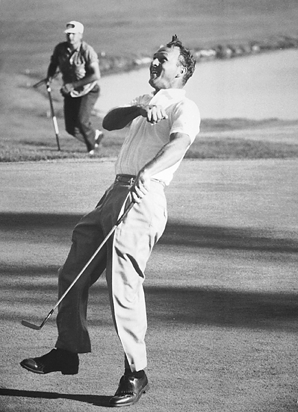 9th hole, Cherry Hills (Arnold Palmer pictured on 18th green).