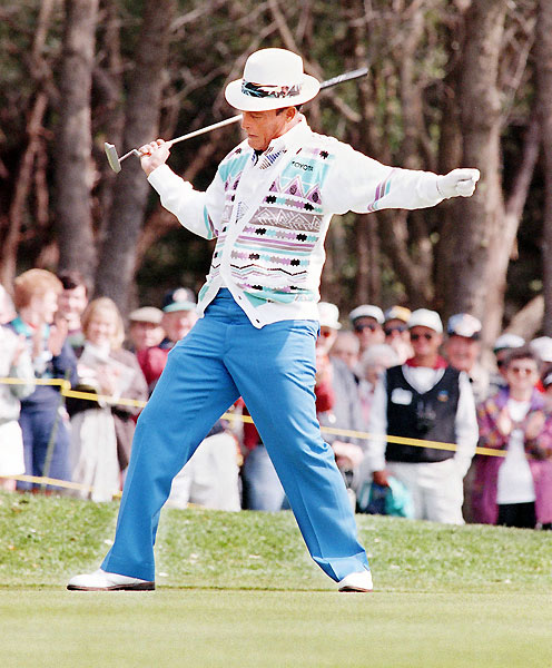 "7. Chi Chi Rodriguez                           	""You should have seen how little I was as a kid,"" Rodriguez used to say. ""I was so small that I got my start as a ball marker."" Fortunately, the little man from Puerto Rico had a flair for showmanship. Who else celebrated a made putt by throwing his hat over the hole? Who else performed a sword dance after a birdie, jamming his putter into an imaginary hilt? There was just one downside to Chi Chi's clowning: it obscured the fact that he was one of the game's most creative shotmakers."