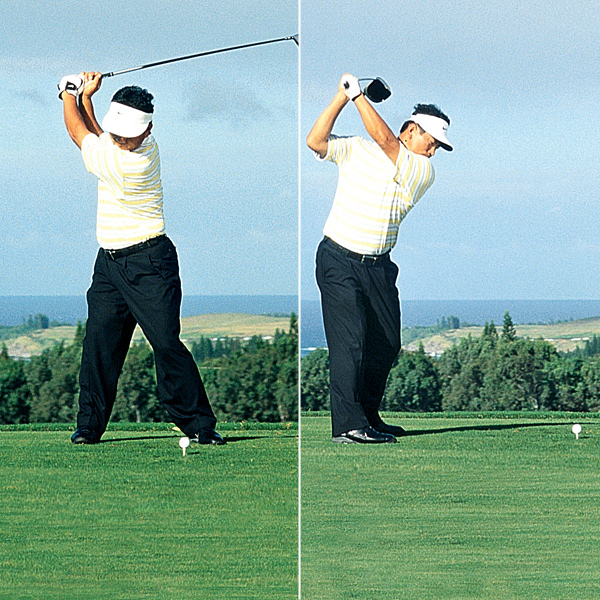 3. K.J.'s shoulders coil on a slightly flatter plane, which forces him to lift his arms a bit in order to keep the club from getting too far behind him.