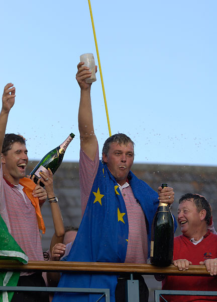 Clarke knocked down a glass of Guinness during the celebration.