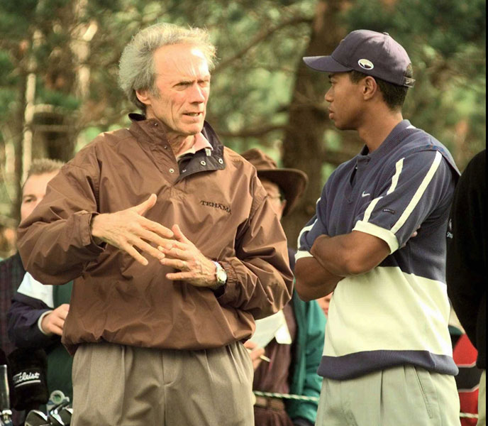 Clint Eastwood, Tehama Golf Club, CarmelEastwood talks with Tiger Woods at the 1998 Pebble Beach Pro-Am.