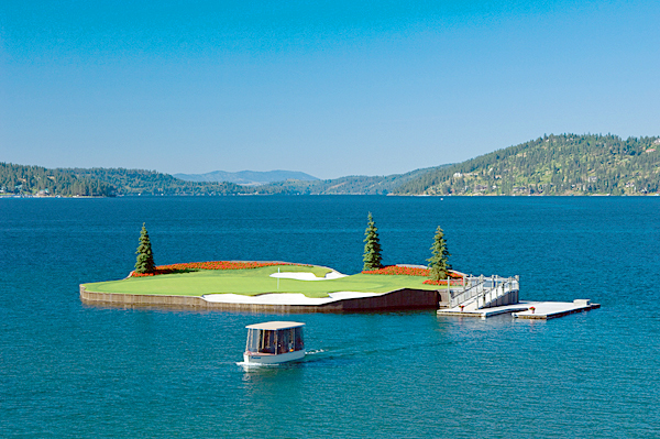 Coeur d'Alene Golf Resort, Coeur d'Alene, Idaho                       The park-like setting along Lake Coeur d'Alene looks extremely serene, and except for the beds of brilliant red geraniums, looks pretty traditional, too. Then we arrive at the par-3 14th hole, which since its inception, is among the most famous one-shotters on the planet. This unforgettable stunner is an actual island green that can stretch 218 yards. The 15,000-square-foot putting surface is bracketed by flowers, junipers and bunkers and surrounded by the lake. Through a system of cables and winches, the green can shift yardage on a daily basis. To reach the putting surface, you and your putter (and wedge at times) are ferried, along with your caddie. Just remember-your putt will break toward the water.