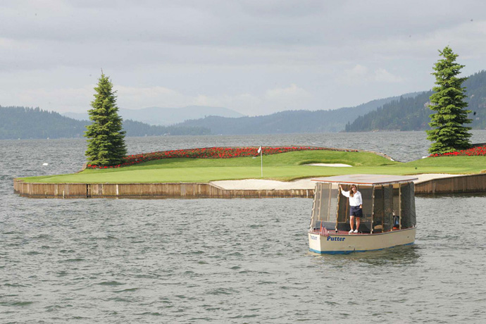 Coeur d'Alene Resort -- Coeur d'Alene, Idaho                            For two decades, island greens were all the rage in architecture. Coeur d'Alene's version, however, remains unique. Golfers hit to a true floating island, one that's capable of moving up or back on any given day, thanks to a system of cables attached to the bottom of gorgeous Lake Coeur d'Alene.