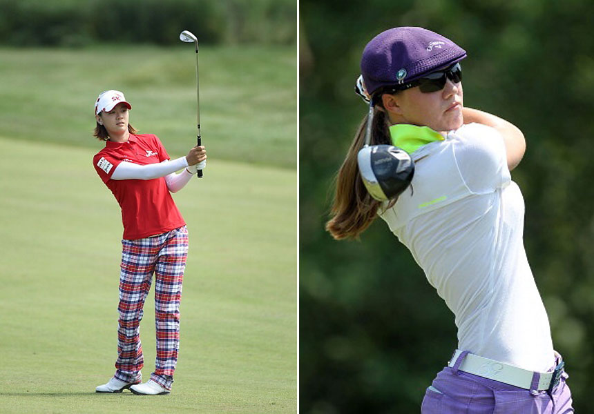 4. Color Coordinating                       Compared to the men's Tour, women's golf is a feast of fashion. For one thing, the women seem to have more of an eye for color coordination. From left: Na Yeon Choi pairs solid shirt with contemporary colored checked trousers; Vicky Hurst matches her purple Kangol cap with purple bottoms (note the vivid green standup collar for contrast.)