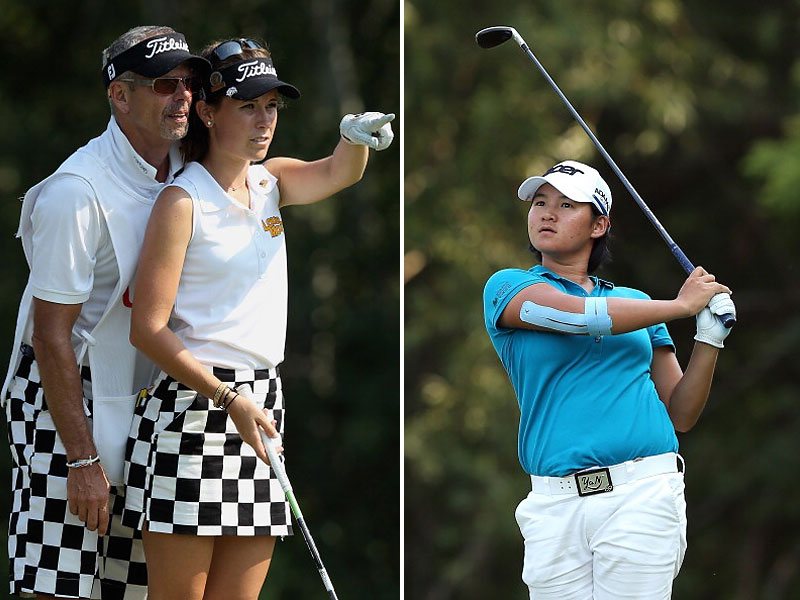 4. Color Coordinating                       Samantha Marks (left) matches her caddie's (dad's) check trousers; and Yani Tseng manages to coordinate her arm brace with her golf shirt.