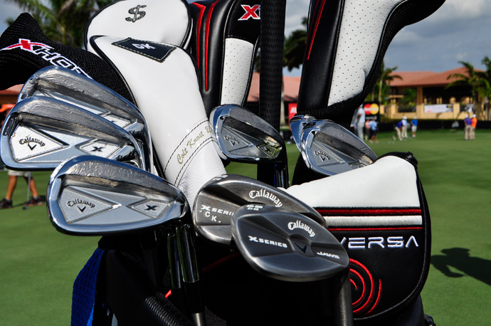Colt Knost's Callaway X Forged irons sport a bit of lead tape.