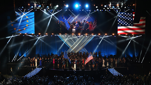 The Europe and the United States teams appear on stage during the 2014 Ryder Cup Gala Concert at the SSE Hydro on Sept. 24, 2014, in Glasgow, Scotland.