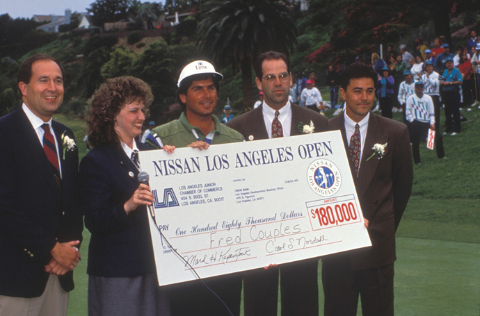 Fred Couples and Davis Love III Playoff in 1992                           At the '92 L.A. Open, the two best players were also BFFs, making the Sunday showdown between Love and Couples the most amicable of tete-a-tetes. On the second playoff hole, Couple beat his buddy with a birdie.