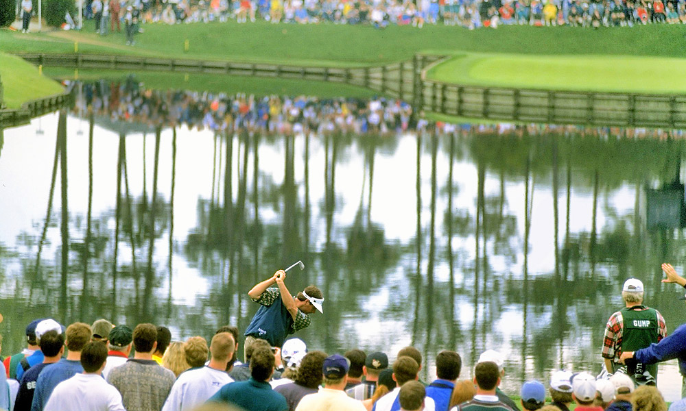 Couples at the famous island-green 17th hole at TPC Sawgrass on the way to a win at the 1996 Players Championship. He also won the Players in 1984.