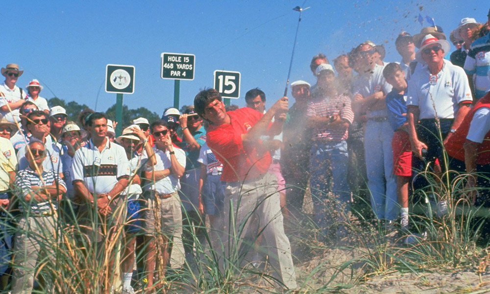 Couples playing out of a tricky lie at the 1991 Ryder Cup at Kiawah Island, one of the most dramatic clashes in the history of the event. He played on five U.S. Ryder Cup teams from 1989 to 1997, compiling a 7-9-4 record.
