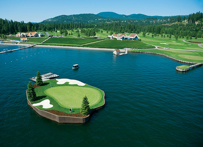 Coeur d'Alene Resort, Coeur d'Alene, Ida., Hole 14, 218 yards, par 3: Coeur d'Alene's enchanting 14th beckons with a 15,000-square-foot green framed by red geraniums, two bunkers, a few conifers -- and is completely encircled by one of North America's most beautiful lakes. No strips of land here, just a floating island green that's reachable only by a six-passenger boat. Hit the green and two-putt for par and you earn an award certificate on the ride back.