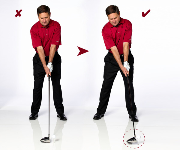 The Attack Angle: How To Get It                       Minor tweaks to your setup and swing make hitting up easy                                              STEP 1: Change Your Address                       Move the ball forward in your stance and tee the ball higher. Try to find the bottom of your old swing and then tee the ball 3-4 inches in front of that old position. This will force you to make a more inside-out swing. Follow the setup changes at right to hit the ball with an ascending blow.                                              OLD BODY TILT: Upper body only slightly tilted back, with your hands even with your zipper.                       OLD BALL POSITION: Opposite your left armpit. This encourages an outside-in swing.                       KEY MOVE: Your right shoulder should be noticeably lower than your left.                       NEW BODY TILT: Your body tilt is more pronounced leaning back.                       NEW HAND POSITION: Your hands should be farther forward, in front of your left thigh.                       NEW BALL POSITION: Find the bottom of your swing and tee the ball 3-4 inches in front of it. This will encourage an inside-out swing.