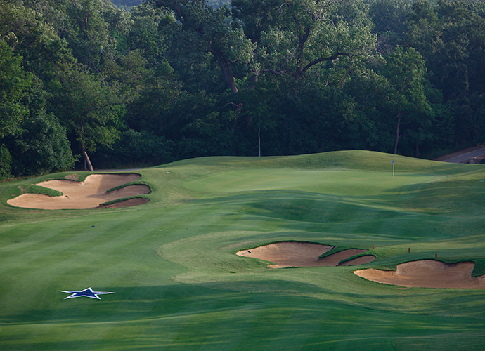 Cowboys Golf Club, Grapevine: The only NFL-themed golf complex in existence, Cowboys scores a touchdown with its presentation and its design. Architect Jeff Brauer built a strong test amid Hill Country-type elevation change, with just enough ravines, lakes, Texas-sized bunkers and contoured greens to hold your attention at every hole, notably at the par-4 4th, which features a blue Dallas Cowboys star in the middle of the landing area. (817-481-7277, cowboysgolfclub.com)