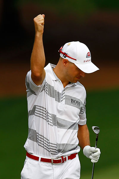 Ben Crane celebrated after his chip-in for eagle on the fifth hole.