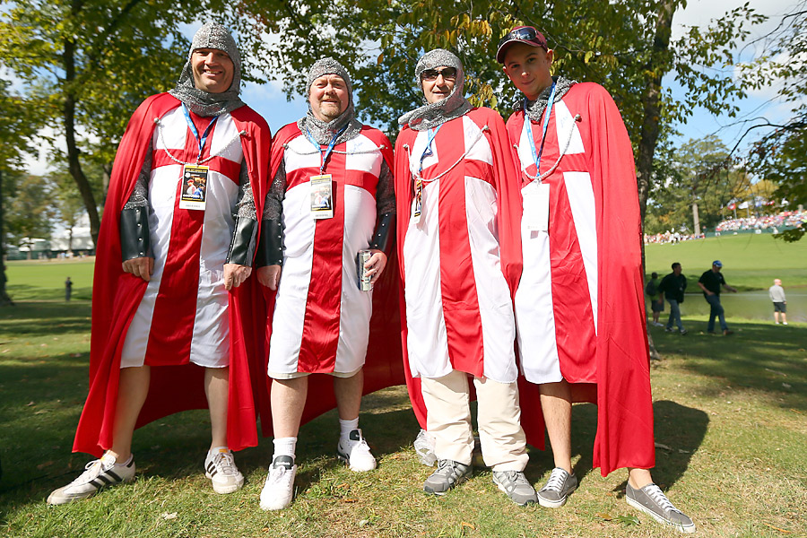 These fans showed some well-coordinated English pride Thursday at Medinah.