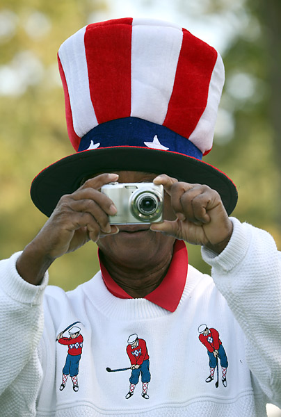 Team USA has its own share of supporters already at the course in Chicago, like this fan who paired an American flag top hat with a Ryder Cup-inspired sweater.