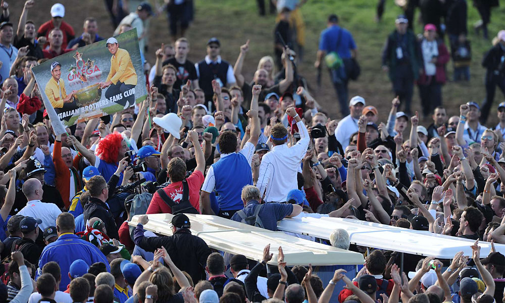 The crowds at Celtic Manor rooted for Team Europe all week long and celebrated with the team afterward.