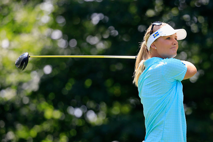 Anna Nordqvist of Sweden follows her drive on the 5th hole during the final round of the International Crown at Cave Valley Golf Club on Sunday in Owings Mills, Md.