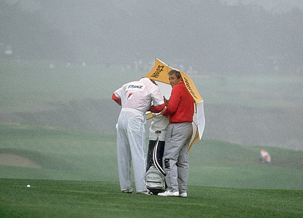 3. 1988Pebble Beach Golf Links,                           Pebble Beach                           Purse: $2 mil. Winner's share: $360,000                           Winner: Curtis Strange (-9)                                                      During a rainy final round, Strange and Tom Kite battled, with Kite birdieing the par-5 18th to force a playoff. Because of weather delays the sudden-death playoff was held on Monday. Both players parred the par-4 16th hole, but at 17, the famous 178-yard par-3 overlooking the Pacific, Strange hit what is arguably the greatest shot in Tour Championship history—a four-iron to two feet. The winner's check of $360,000 was the biggest in Tour history. He finished with $1,147,644 in earnings to become the Tour's first player to win more than $1 million in a season.