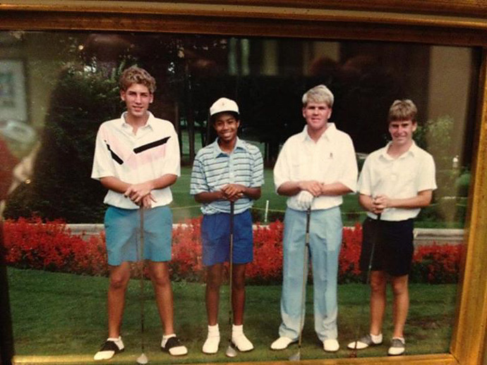 """John Daly posted this gem of him and Tiger on Facebook: """"All the talk of Crooked Stick--sifted thru an oldie but goodie! Oh,,,how young & fun with Tiger. I had just turned 21!! #HoganDays (don't remember who other 2 are?)"""""""