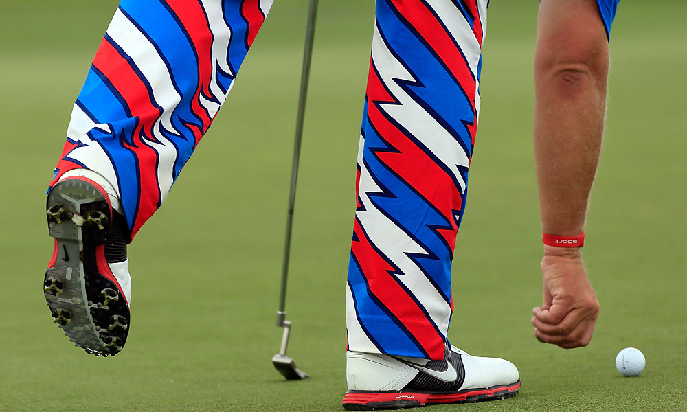Daly sported some colorful pants on Thursday.