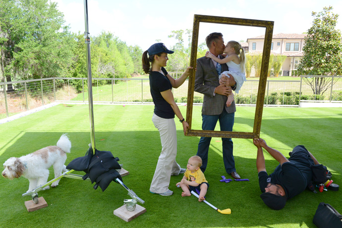 Poulter took time between cover shoots to show daughter Lily-Mai a little love. Son Joshua, as usual, was never far from his plastic club.