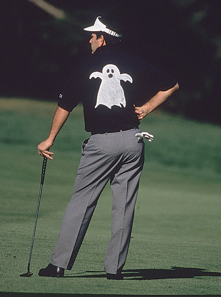 "10. 1994 Olympic Club, San Francisco                           Purse: $3 mil. Winner's share: $540,000                           Winner: Mark McCumber (-10)                                                      McCumber, 43, clinched his 10th and final tournament win with a 40-foot birdie                           putt at the 18th hole in a playoff against Fuzzy Zoeller. But perhaps the most memorable shot of the week was hit by Greg Norman in the third round at the 146-yard par-3 8th. Norman flushed a seven-iron that trickled in for an ace that elicited a massive roar. Later, when Norman was handed a bar bill for $18,413.60 worth of drinks he was obliged to buy, he said: ""Don't worry. I've got insurance.""                                                       The Tour Championship                           was held on or near                           Halloween, so players                           like David Frost (left) often got                           into the spirit of things."