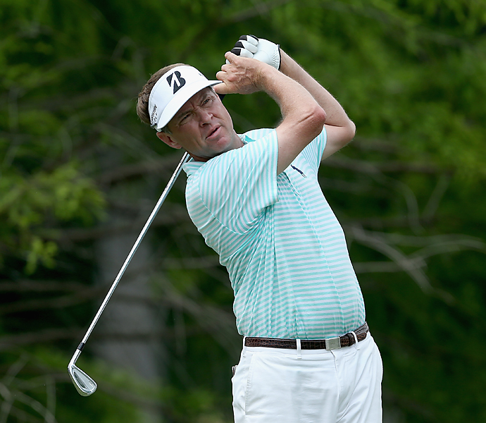 Tour veteran and former Ryder Cup captain Davis Love III found himself in a six-way tie for the lead after shooting 66.