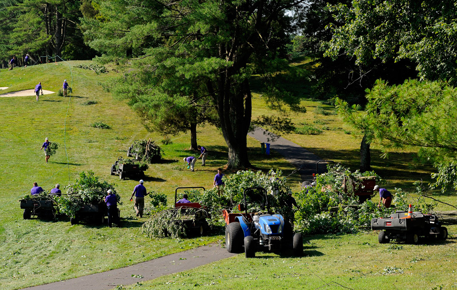 """There's a lot of debris. It's like a tornado came through here. It's just not safe,"" said Mark Russell, the PGA Tour's vice president of rules and competition."