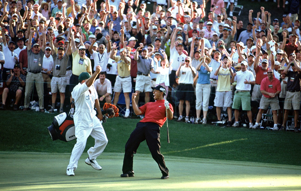 Most amazing shot: Tiger's chip-in at the 16th in the '05 Masters, when his ball rolled past the cup, changed directions and rolled back the other way, barely toppling in at the end.