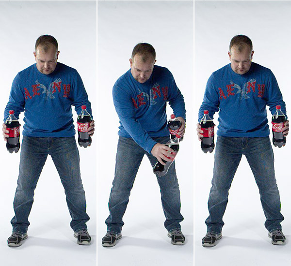Assume your setup with a 32-ounce bottled drink in each hand.                           Alternately punch toward your opposite shoulder, smoothly and as fast                           as you can. Suck in your gut as you punch, which works your abdominals.                           Do three sets daily, 30 seconds each. (If you use a carbonated drink, wait                           for five minutes after the workout before opening the bottle, unless you've                           just won the Ryder Cup.)                           Benefit: Builds core strength