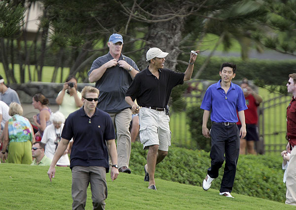 This time around a crowd assembled to watch the future president golf.