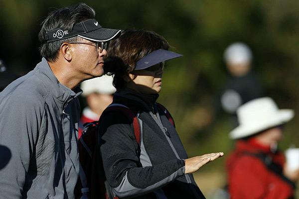 Wie's parents were on hand to watch her first round.