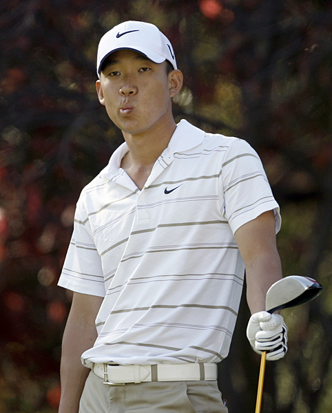 Anthony Kim's expression seemed to sum up his round on Friday — he shot a two-over 74.