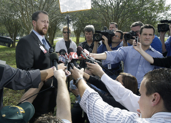 Dan Yates, director of marketing for Heath Central Hospital, spoke to the media Tuesday morning after it was reported Tiger Woods's mother-in-law, Barbro Holmberg, was treated and released due to stomach pains. Holmberg was transported to the hospital early Tuesday morning after a 911 call was made from Woods's home.