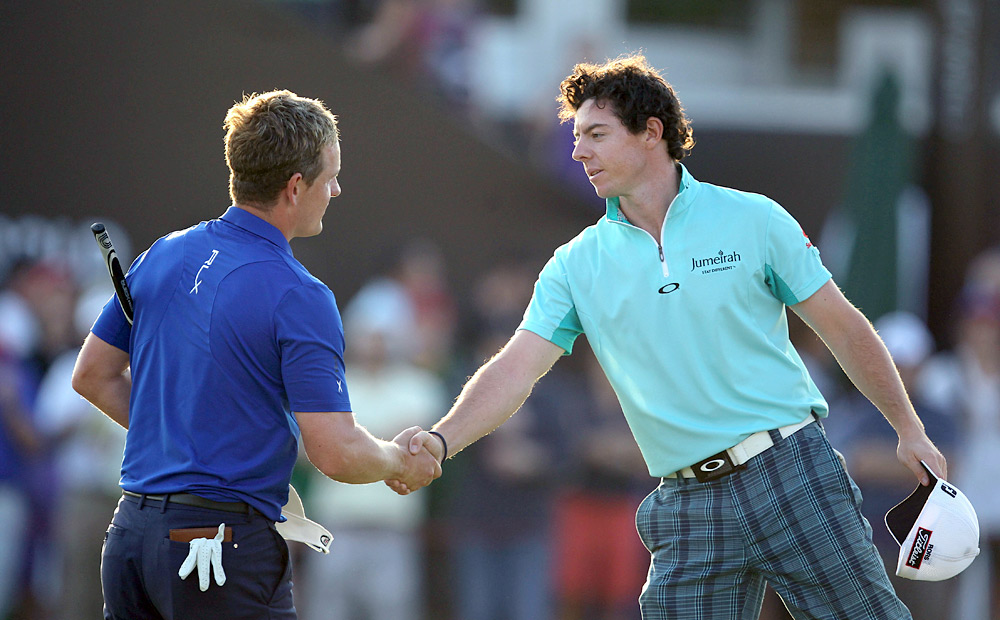 Luke Donald and Rory McIlroy, No. 1 and No. 2 on the European Tour money list respectively, were paired together on Thursday for the first round.