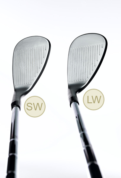 FACE                                              SW With 54 to 57 degrees of loft, the sand wedge still gets the ball up, but it allows you to fly your shot to a more distant target.                                              LW 60 degrees (or more) of loft makes the lob wedge perfect for full-swing shots that fly high and land softly.