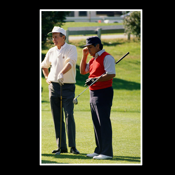 "I've played twice with President Bush. The second time was in Houston. I remember flying back in the president's helicopter to the White House, and his secretary says, ""Mr. Bush, where have you been?"" He says, ""I've been playing golf."" She says, ""Isn't today a working day?"" He said, ""It is."" She says, ""Why are you playing golf?"" He says, ""Because I'm president."" [Laughs.]"