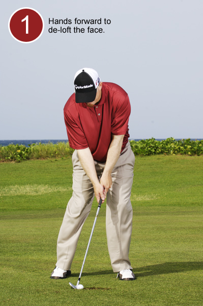 How to Make Solid Contact from a Divot                       Your setup determines how crisply you'll hit it                       By Brady Riggs                       This story is for you if...                                              • You panic when your ball lands in a divot                       • You have no idea how to make clean contact in this situation                       • From a normal lie you sweep the ball instead of hitting down on it                                              THE SITUATION                       Your ball has come to rest in the back of a divot in the fairway, leaving the bottom of the ball below the lead edge of your clubface. Unless you make some adjustments, you'll catch this shot thin.                                                                                            THE ADJUSTMENTS                                              1. Take one less club than for a normal lie, and play the ball an inch or two inside your right heel. Set your hands even with your zipper. This leans the shaft toward the target and de-lofts the clubface. (That's why you took less club — the ball will run when it lands.) Place your weight favoring your left leg.
