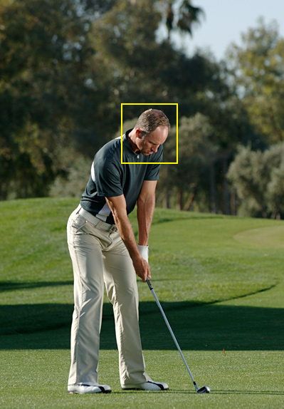 6. Tilt your upper body to the right so that your head is behind the ball. Now you're set for a solid strike, even if your swing isn't perfect.