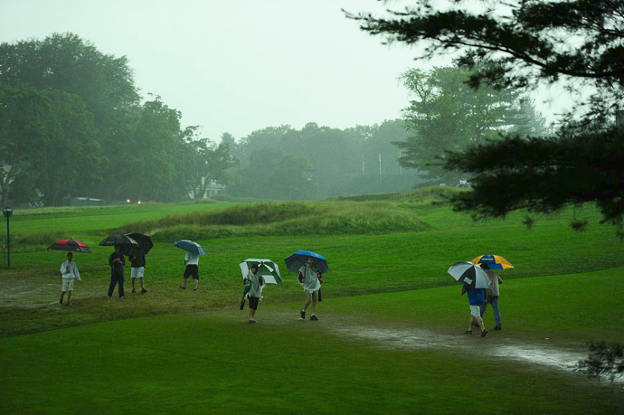 Thunderstorms delayed play for more than three hours on Thursday morning. There was also a short delay in the afternoon.